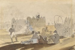 Caravan with Covered Wagons [recto] by Winslow Homer
